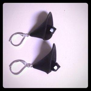 Sleek black Cala Lilly earrings Swarovski crystals